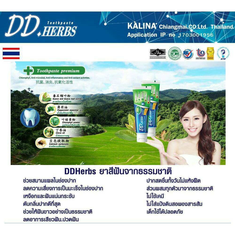 ยาสีฟันสมุนไพร ดีดี เฮิร์บ กลิ่นชาโคล ( DD HERBS ) ขนาด 100 g.